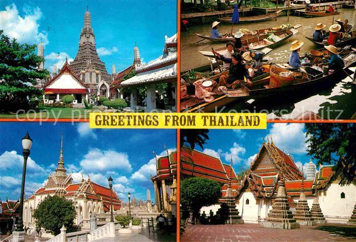AK / Ansichtskarte Thailand Temple of dawn Wat Phra Keo Flooting Markets Wat Pho Kat. Thailand