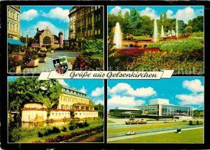 AK / Ansichtskarte Gelsenkirchen Bahnhof Park Springbrunnen Schloss Musiktheater Kat. Gelsenkirchen