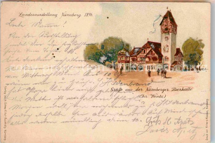 AK / Ansichtskarte Ausstellung Bayr Landes Nuernberg 1896 Nuernberger Bierhalle Chr. Wentz Litho  Kat. Expositions