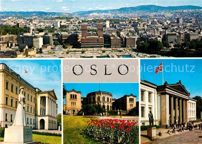 AK / Ansichtskarte Oslo Norwegen Panorama Radhuset Slottet Stortinget Universitetet Kat. Oslo
