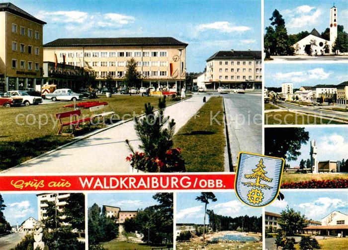 AK / Ansichtskarte Waldkraiburg Teilansichten Platz Kirche Schwimmbad Kat. Waldkraiburg