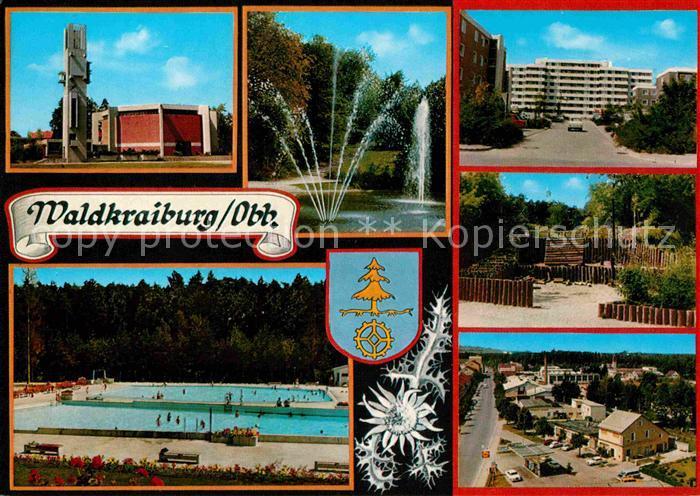 AK / Ansichtskarte Waldkraiburg Freibad Stadtpark Freibad Kirche Hochhaeuser Kat. Waldkraiburg