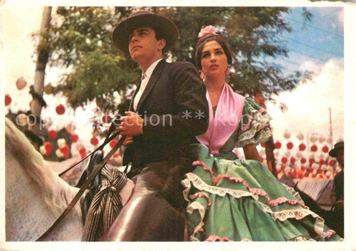 AK / Ansichtskarte Sevilla Andalucia Junges Paar zu Pferd auf dem Weg zur Feria Kat. Sevilla