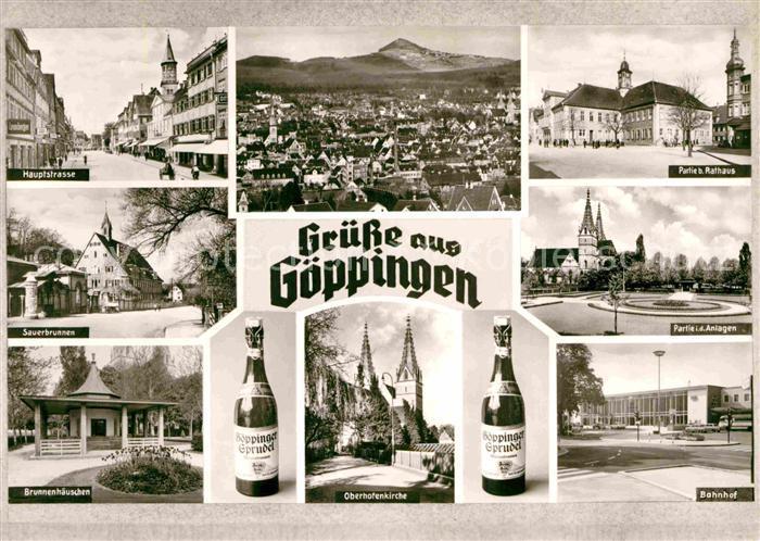 AK / Ansichtskarte Goeppingen Rathaus Hauptstrasse Brunnenhaeuschen Oberhofenkirche Kat. Goeppingen