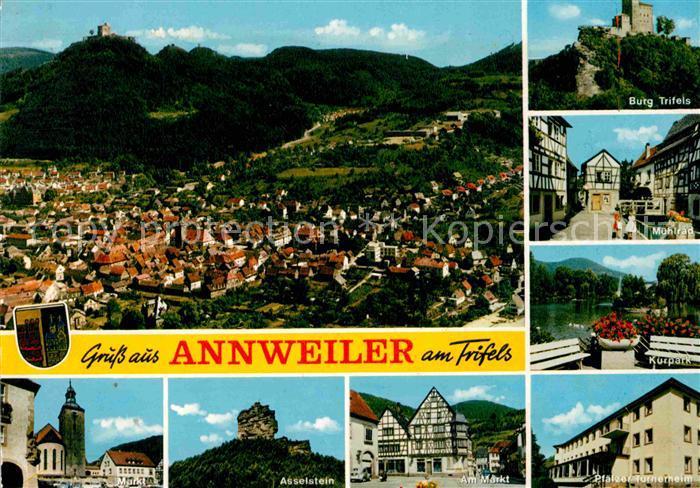 AK / Ansichtskarte Annweiler Trifels Panorama Burg Trifels Muehlrad Kurpark Asselstein Markt Pfaelzer Turnerheim Kat. Annweiler am Trifels