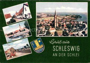 AK / Ansichtskarte Schleswig Schlei Teilansichten Hafen Promenade Kirche Fliegeraufnahme Kat. Erfde