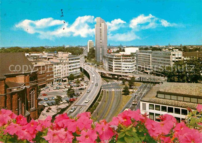AK / Ansichtskarte Duesseldorf Hochstrasse und Thyssenhaus Hochhaus Kat. Duesseldorf