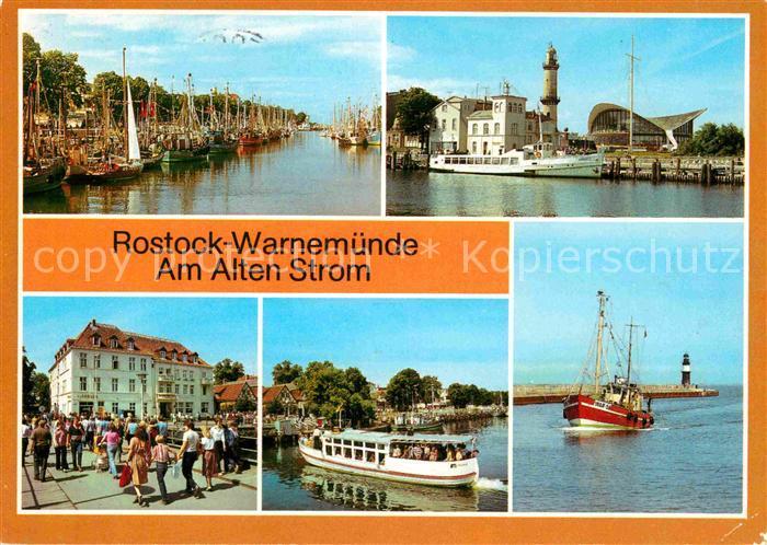 AK / Ansichtskarte Warnemuende Ostseebad Alter Strom Leuchtturm Teepott Erholungsheim Am alten Strom Fischkutter Mole Leuchttuerme Kat. Rostock