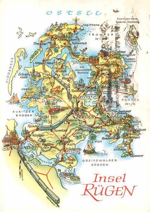 AK / Ansichtskarte Insel Ruegen Landkarte Kat. Bergen