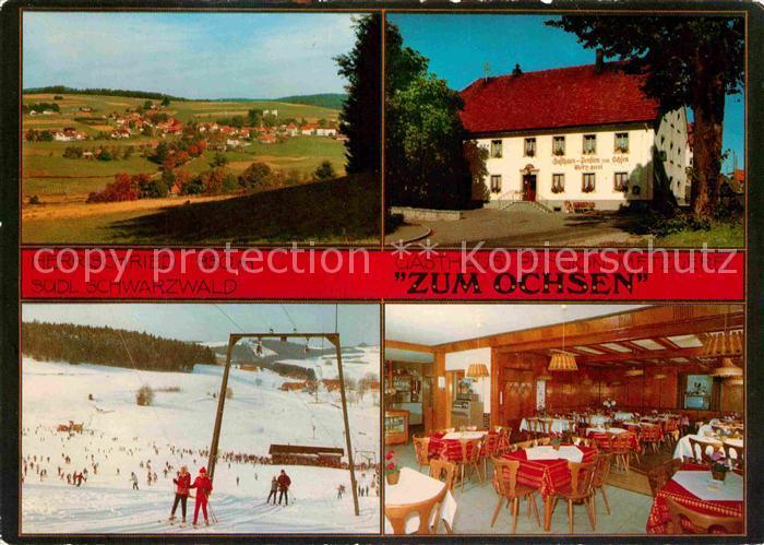 AK / Ansichtskarte Herrischried Gasthaus Pension Metzgerei Zum Ochsen Panorama Skipiste Kat. Herrischried