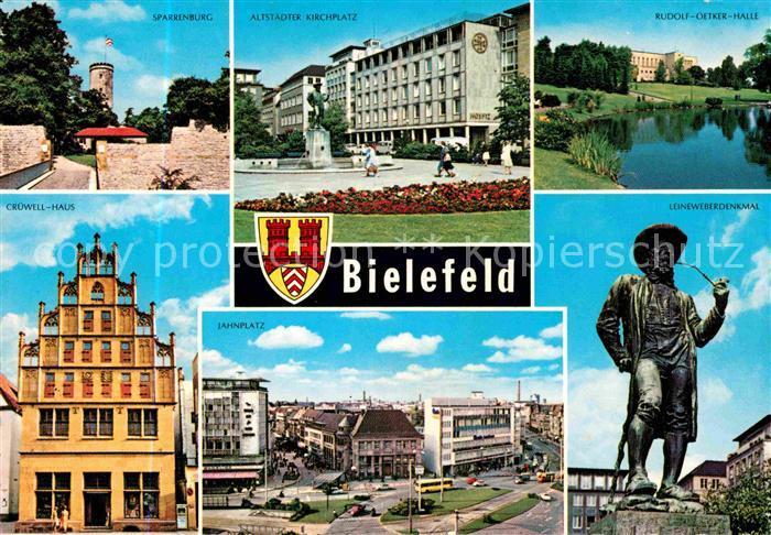 AK / Ansichtskarte Bielefeld Sparrenburg Kirchplatz Rudolf Oetker Halle Leineweberdenkmal Jahnplatz Cruewell Haus Kat. Bielefeld