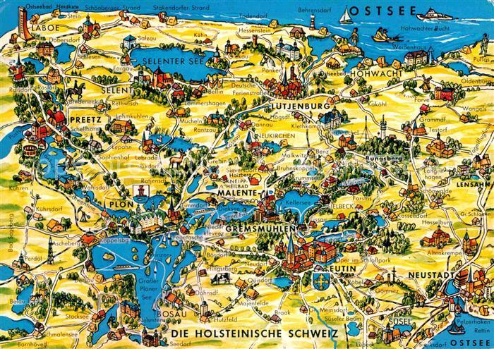 Holsteinische Schweiz Karte.Ak Ansichtskarte Malente Gremsmuehlen Landkarte Holsteinische Schweiz Mit Sehenswuerdigkeiten Kat Malente