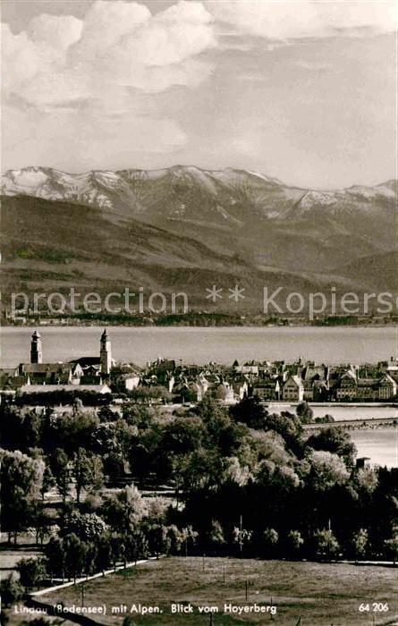 AK / Ansichtskarte Lindau Bodensee mit Alpen Blick vom Hoyerberg Kat. Lindau (Bodensee)