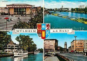 AK / Ansichtskarte Muelheim Ruhr Stadthalle Schlossbruecke City Wasserbahnhof Dampfer Wappen Kat. Muelheim an der Ruhr