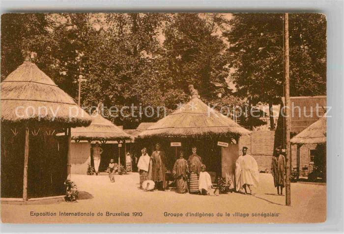 AK / Ansichtskarte Exposition Universelle Bruxelles 1910 Groupe d Indigenes Village Senegalais  Kat. Expositions