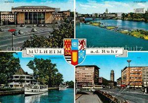 AK / Ansichtskarte Muelheim Ruhr Stadthalle Schlossbruecke City Wasserbahnhof Ausflugsdampfer Kat. Muelheim an der Ruhr