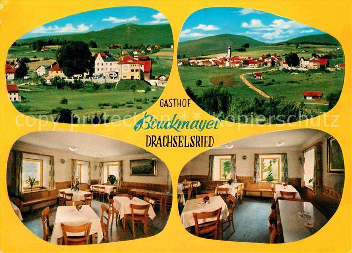 AK / Ansichtskarte Drachselsried Panorama Gasthof Pension Bruckmayer Gastraeume Kat. Drachselsried