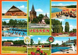 AK / Ansichtskarte Uelsen Reiterhof Kirche Rathaus Wilsumer Berge Heidelandschaft Waldbad Jugendherberge Kurhotel Kat. Uelsen