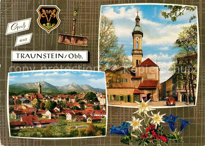 AK / Ansichtskarte Traunstein Oberbayern Gesamtansicht mit Alpenpanorama Kirche Blauer Enzian Edelweiss Kat. Traunstein