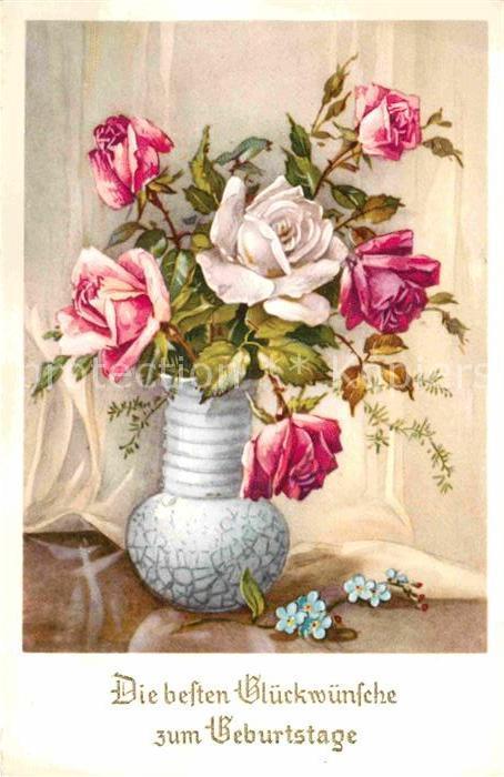 Geburtstag Vase Rosen Veilchen Nr 249687 Oldthing Gluckwunsch