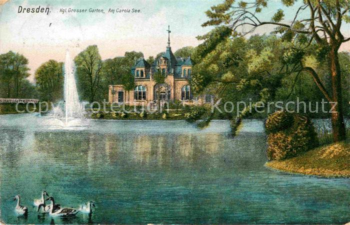 AK / Ansichtskarte Dresden Kgl Grosser Garten am Carola See Kat. Dresden Elbe