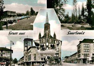 AK / Ansichtskarte Saarlouis Schwimmbad Parkanlage Deutsche Strasse Kirche Franzoesische Strasse Kat. Saarlouis