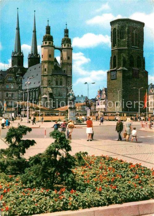 ak ansichtskarte halle saale marktplatz kirche haendeldenkmal roter turm kat halle nr. Black Bedroom Furniture Sets. Home Design Ideas