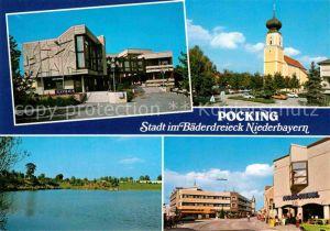 AK / Ansichtskarte Pocking Kirche Rathaus See Stadtansicht Kat. Pocking