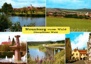 AK / Ansichtskarte Neunburg Wald Panoramen Ortsansicht Brunnen Autobahnbrueke Kat. Neunburg vorm Wald