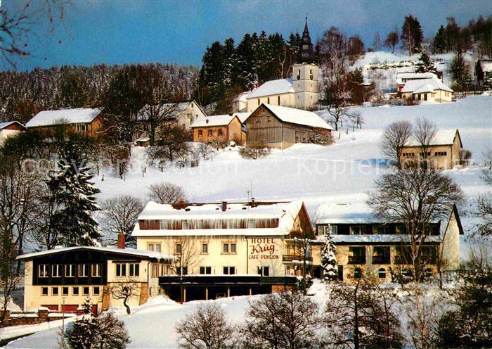 AK / Ansichtskarte Warmensteinach Hotel Krug Winterlandschaft Kat. Warmensteinach Fichtelgebirge