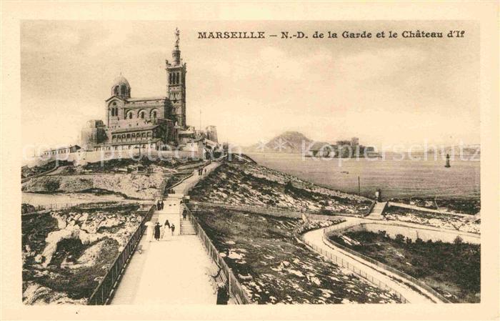 AK / Ansichtskarte Marseille Notre Dame de la Garde et le Chateau d If Kat. Marseille