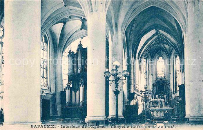 AK / Ansichtskarte Bapaume Interieur de l Eglise Chapelle Notre Dame de Pitte Kat. Bapaume