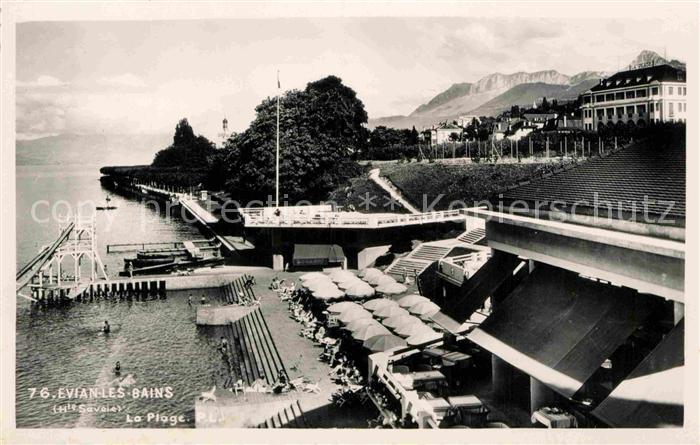 AK / Ansichtskarte Evian les Bains Haute Savoie La Plage Hotel Restaurant Kat. Evian les Bains