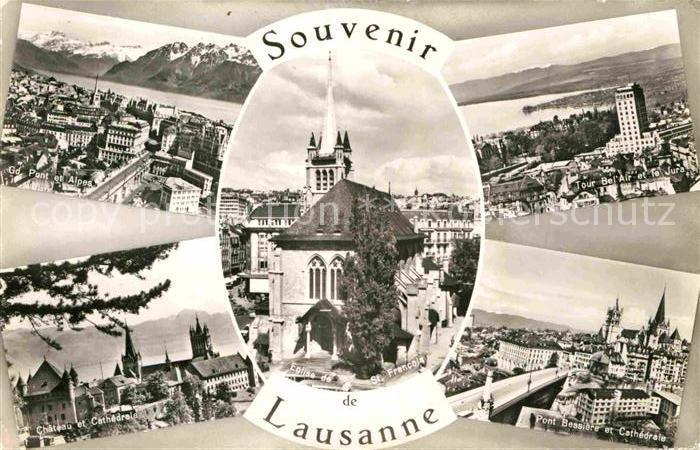 AK / Ansichtskarte Lausanne VD Vues generales Alpes Tour Bel Air et le Jura Chateau Cathedrale Eglise Pont Bessiere Kat. Lausanne