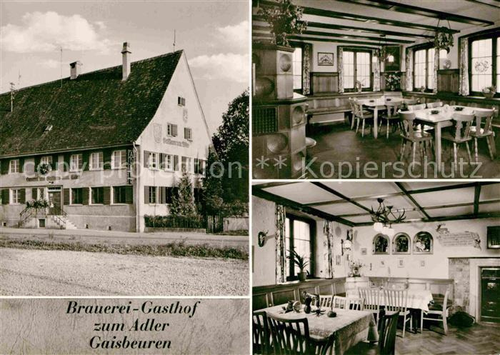 AK / Ansichtskarte Gaisbeuren Brauerei und Gasthof zum Adler Gastraeume Kat. Bad Waldsee
