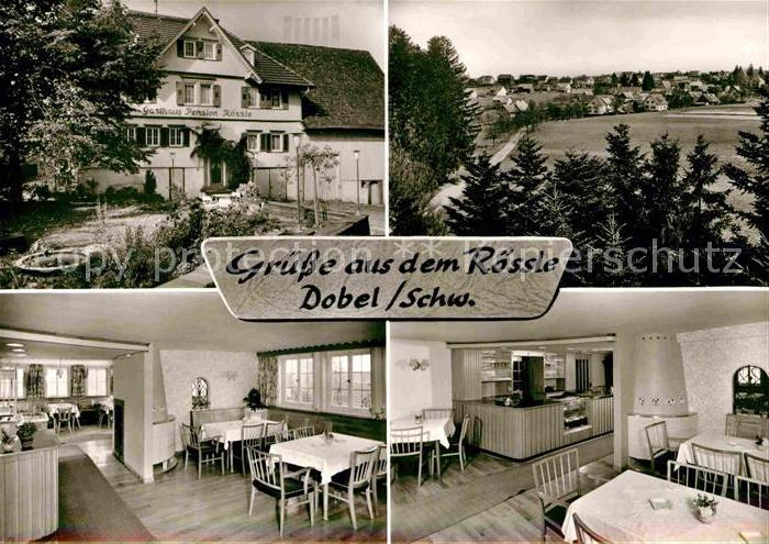 AK / Ansichtskarte Dobel Schwarzwald Gasthof Pension zum Roessle Gastraeume Panorama Kat. Dobel