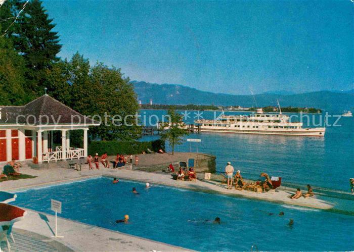 Ak Ansichtskarte Bad Schachen Lindau Hotel Am See Faehre