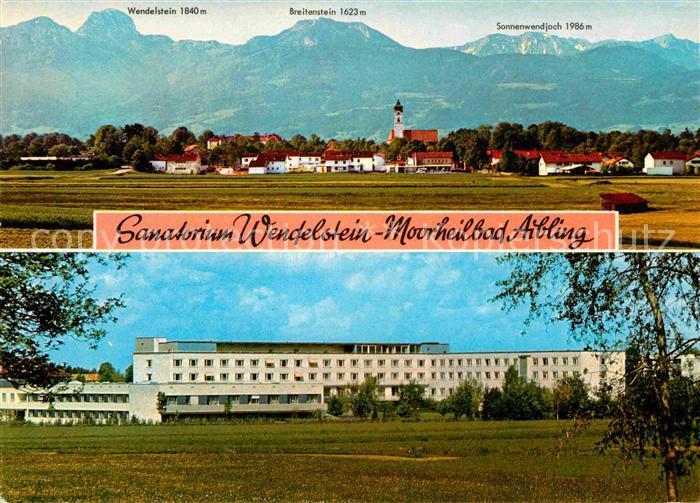 AK / Ansichtskarte Bad Aibling Gesamtansicht mit Alpenpanorama Sanatorium Wendelstein Moorheilbad Kat. Bad Aibling