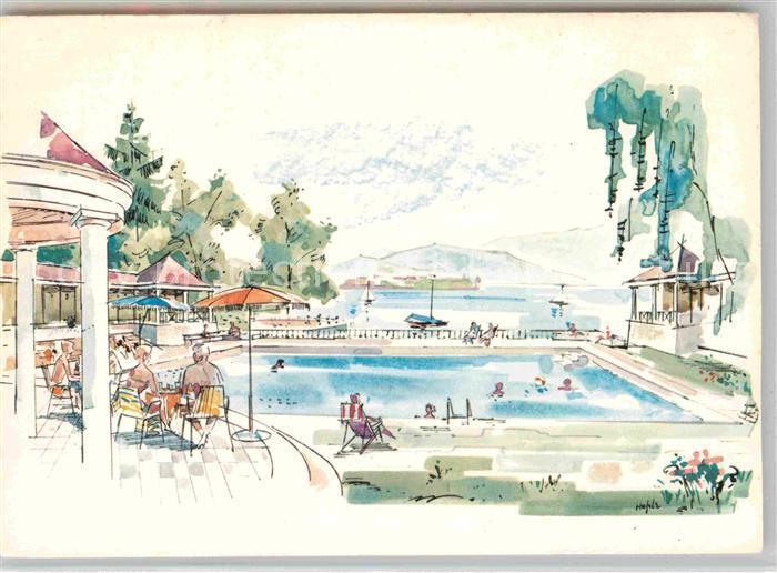 AK / Ansichtskarte Bad Schachen Lindau Hotel Schwimmbad mit Blick auf den See Kuenstlerkarte Kat. Lindau (Bodensee)