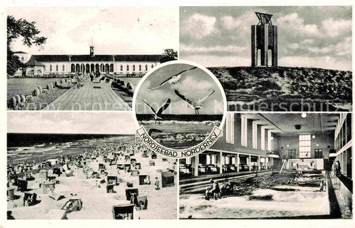AK / Ansichtskarte Norderney Nordseebad Kurhaus Strand Wellenbad Kap Landmarke Moewen Kat. Norderney