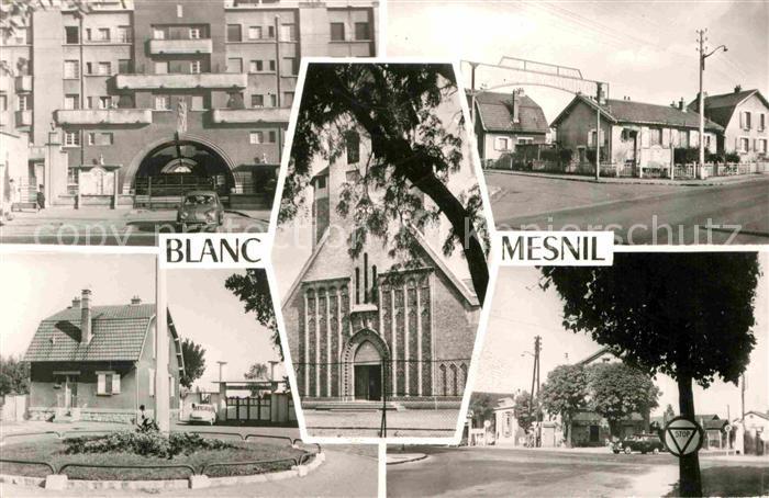 AK / Ansichtskarte Blanc Mesnil Seine Saint Denis Le Route de Flandre Entree du stade Eglise Saint Charles Le Stade Carrefour de la Negresse Kat. Le Blanc Mesnil