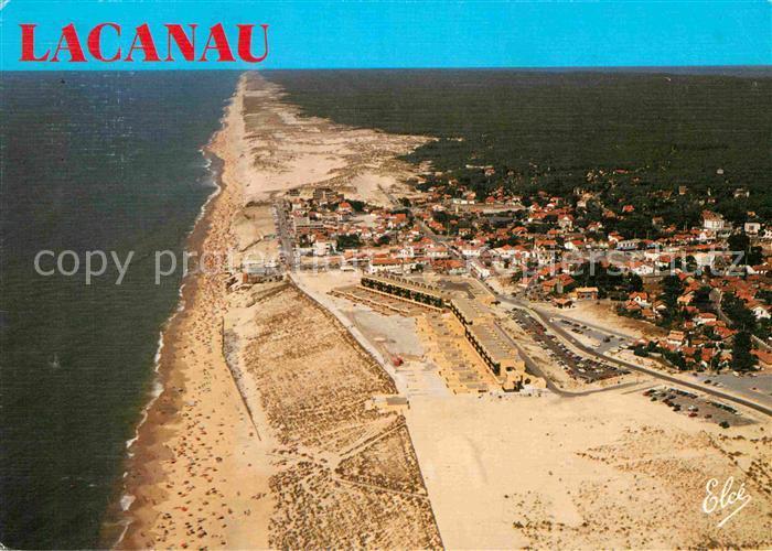 AK / Ansichtskarte Lacanau Vue generale aerienne sur la Grande Plage et les Dunes Kat. Lacanau