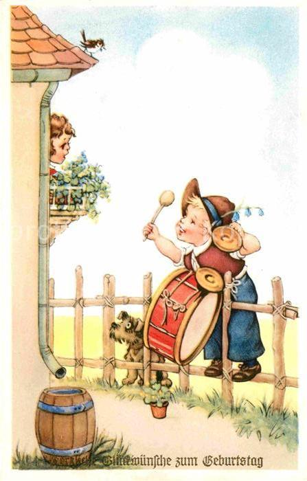 Geburtstag Kinder Hase Hund Sonnenblume 1959 Hilde 51822