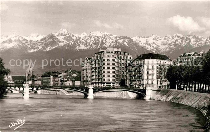 AK / Ansichtskarte Grenoble Pont de la Porte de France et les Alpes Kat. Grenoble
