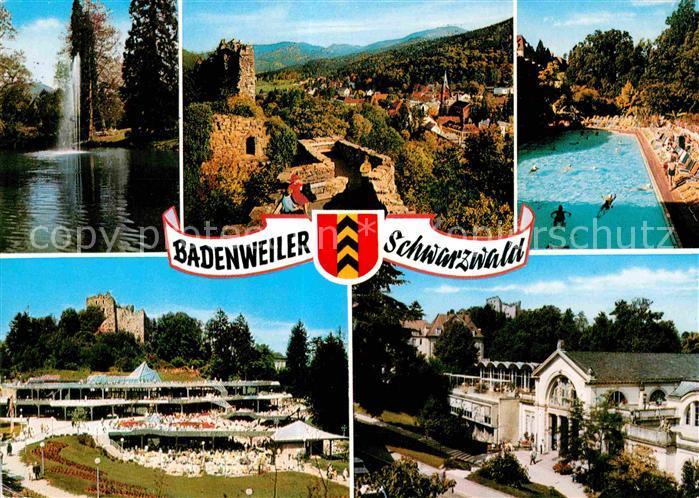 AK / Ansichtskarte Badenweiler Thermalbad Brunnen Schlossruine  Kat. Badenweiler