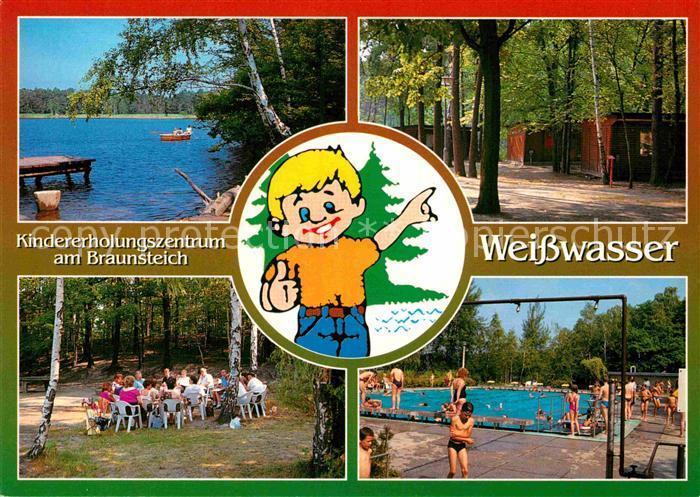 AK / Ansichtskarte Weisswasser Oberlausitz Kindererholungszentrum Am Braunsteich mit Gaststaette Schwimmbad und Hotel Kat. Weisswasser