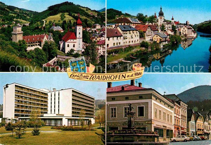AK / Ansichtskarte Waidhofen Ybbs Partie an der Ybbs Buchenbergheim Stadtplatz Forellenbrunnen Kat. Waidhofen an der Ybbs