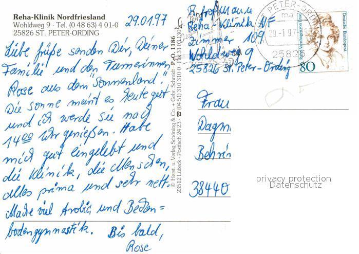 Sankt Peter Ording Karte.Ak Ansichtskarte St Peter Ording Reha Klinik Nordfriesland Kat Sankt Peter Ording