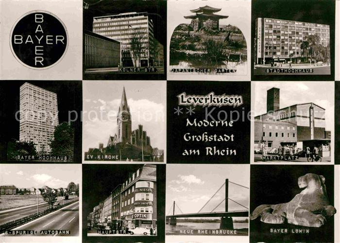 AK / Ansichtskarte Leverkusen Koelner Strasse Bayer Hochhaus Bayer Loewin Kat. Leverkusen