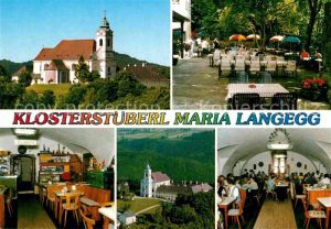 AK / Ansichtskarte Maria Langegg Klosterstueberl Terrasse Gastraum Klosterkirche Gewoelbekeller Kat. Mautern an der Donau